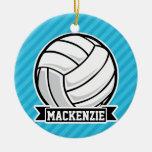 Volleyball; Sky Blue Stripes Ceramic Ornament