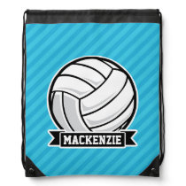 Volleyball; Sky Blue Stripes Drawstring Bag