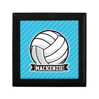 Volleyball; Sky Blue Stripes Jewelry Box