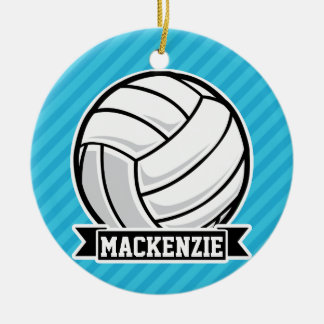 Volleyball; Sky Blue Stripes Ornament