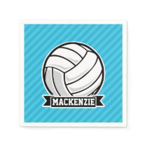 Volleyball; Sky Blue Stripes Paper Napkin