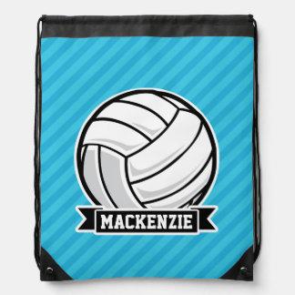 Volleyball; Sky Blue Stripes Drawstring Bag