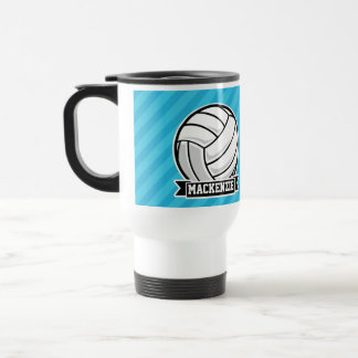 Volleyball; Sky Blue Stripes Travel Mug