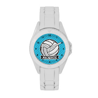 Volleyball; Sky Blue Stripes Wrist Watches