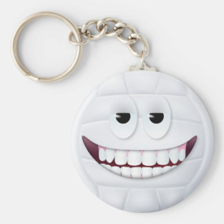 Volleyball Smiley Face 2 Basic Round Button Keychain
