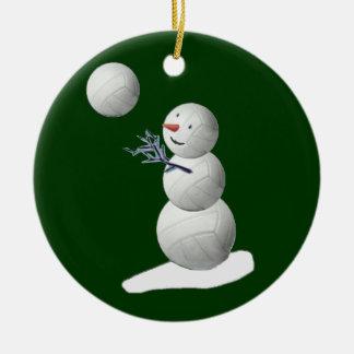 Volleyball Snowman Ceramic Ornament