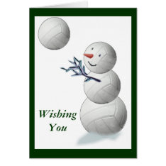 Volleyball Snowman Christmas Card at Zazzle