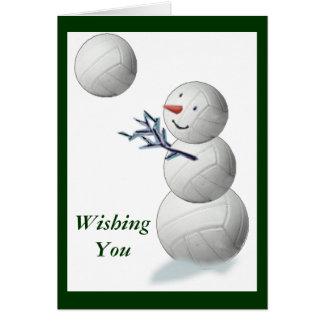 Volleyball Snowman Christmas Card