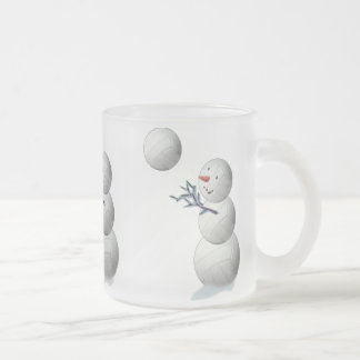 Volleyball Snowman Christmas Frosted Glass Coffee Mug