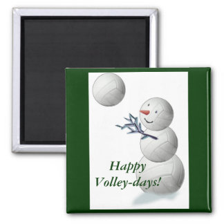 Volleyball Snowman Christmas Magnet