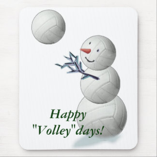 Volleyball Snowman Christmas Mouse Pad
