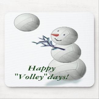 Volleyball Snowman Christmas Mousepad