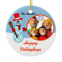 Volleyball Snowman Family Photo Ornament