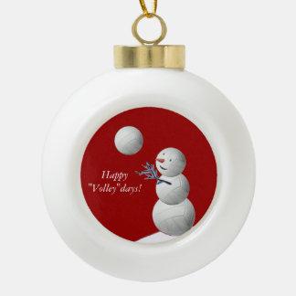 Volleyball Snowman Ornament
