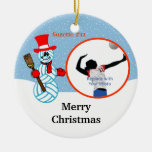 Volleyball Snowman Team/Player Photo Ornament