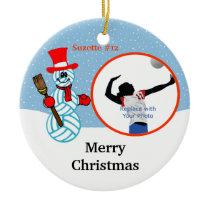 Volleyball Snowman Team/Player Photo Ornament
