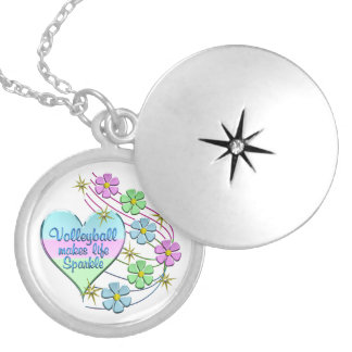 Volleyball Sparkles Silver Plated Necklace