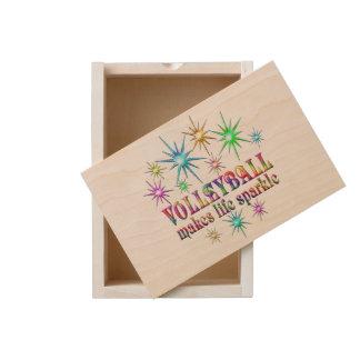 Volleyball Sparkles Wooden Keepsake Box