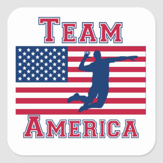 Volleyball Spike American Flag Team America Square Sticker