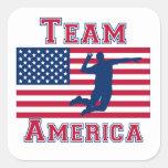 Volleyball Spike American Flag Team America Sticker