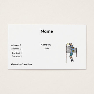 volleyball spike mens volley cartoon graphic business card