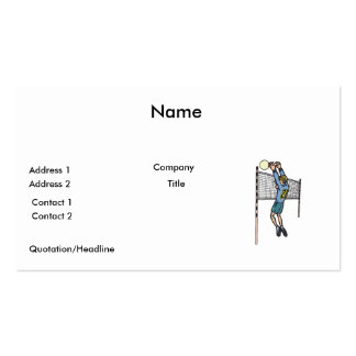volleyball spike mens volley cartoon graphic Double-Sided standard business cards (Pack of 100)