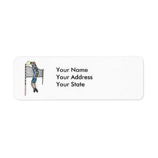 volleyball spike mens volley cartoon graphic return address label