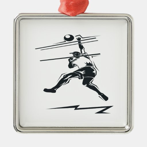 Volleyball Spike Square Metal Christmas Ornament