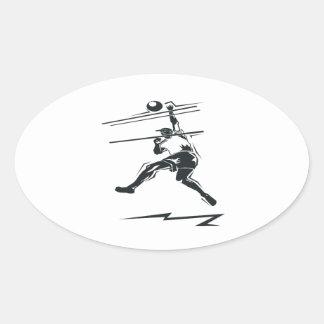 Volleyball Spike Oval Sticker