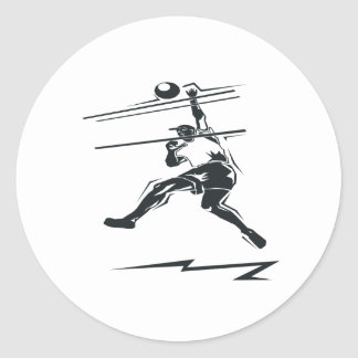 Volleyball Spike Classic Round Sticker