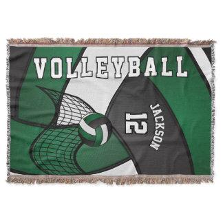 Volleyball Sport Ball in Dark Green, White & Black Throw Blanket