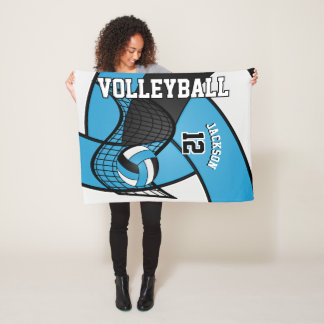 Volleyball Sport in Baby Blue, White & Black Fleece Blanket