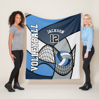 Volleyball Sport in Blue, White and Gray Fleece Blanket