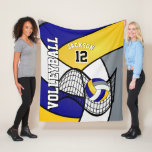 """Volleyball 🏐 Sport in Blue, White and Yellow Fleece Blanket<br><div class=""""desc"""">Volleyball Fleece Blanket available in 3 sizes. Featuring a Volleyball Sport design in a blue, white and yellow pattern and DIY name and number. Makes a great gift for any volleyball player or enthusiast. Matching pillow, tote bags and more products are available. Can't find your color(s)??? Contact me, direct email...</div>"""