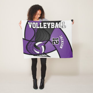 Volleyball Sport in Purple, White & Black Fleece Blanket