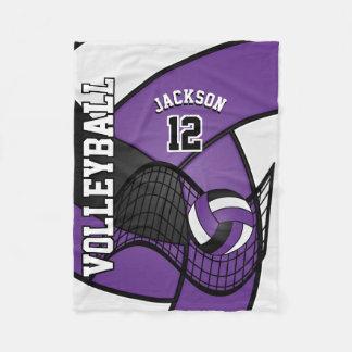 Volleyball Sport in Purple, White & Black Fleece Blanket