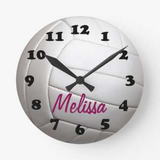 Volleyball Sports Ball With Name Round Clock