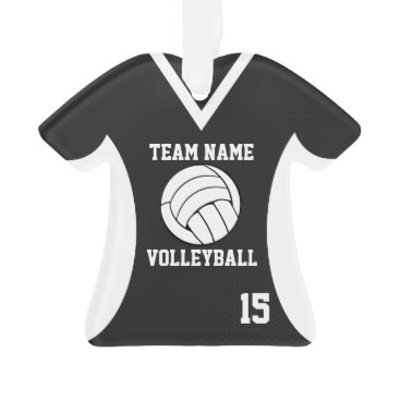Beach Themed Volleyball Sports Jersey Black with Photo Ornament