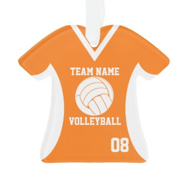 Beach Themed Volleyball Sports Jersey Orange with Photo Ornament