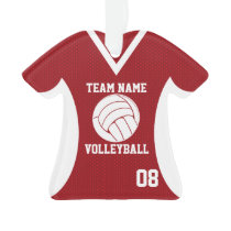 Volleyball Sports Jersey Red with Photo Ornament