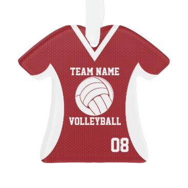 Beach Themed Volleyball Sports Jersey Red with Photo Ornament