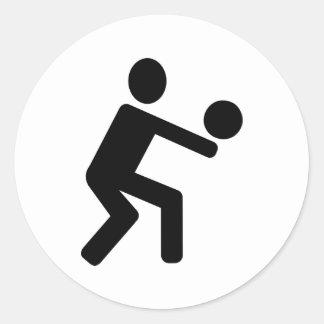 Volleyball sports player classic round sticker