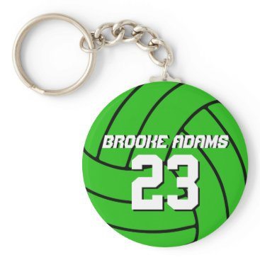 Beach Themed Volleyball Sports Team Keychain Customize Color