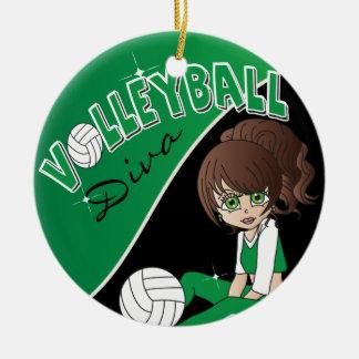 Volleyball Sporty Diva Girl in Dark Green Ceramic Ornament