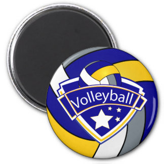 Volleyball Star Player  Blue, Gray, White & Yellow Magnet