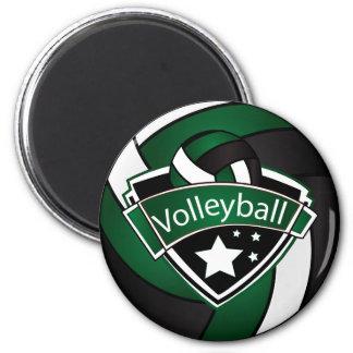 Volleyball Star Player - Dark Green, White & Black Magnet