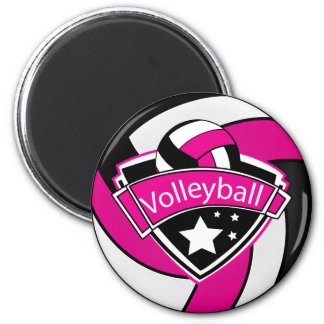 Volleyball Star Player - Hot Pink, White & Black Magnet