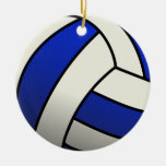 Volleyball Team Gifts - Blue Double-Sided Ceramic Round Christmas Ornament