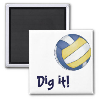Volleyball Team Name and Number 2 Inch Square Magnet
