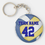 Volleyball Team Name and Number Basic Round Button Keychain